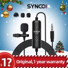 SYNCO-micrófono condensador omnidireccional Lavalier, etiqueta de micrófono, cable de 6M, para iPhone y Android, Lavalier profesional