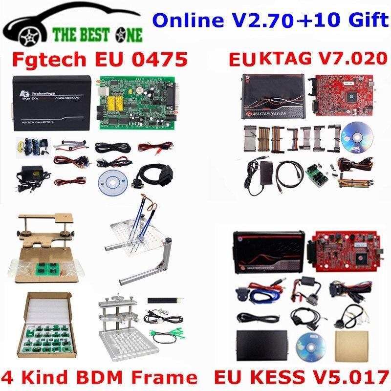 Полный комплект ECU программатора онлайн V2.70 EU красный Kess V5.017 + KTAG V7.020 + 0475 FGTECH Galletto 4 + металлический светодиодный BDM Рамный инструмент