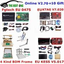 Conjunto completo ecu programador em linha v2.70 ue vermelho kess v5.017 + ktag v7.020 + 0475 fgtech galletto 4 + metal led bdm quadro chiptuning ferramenta