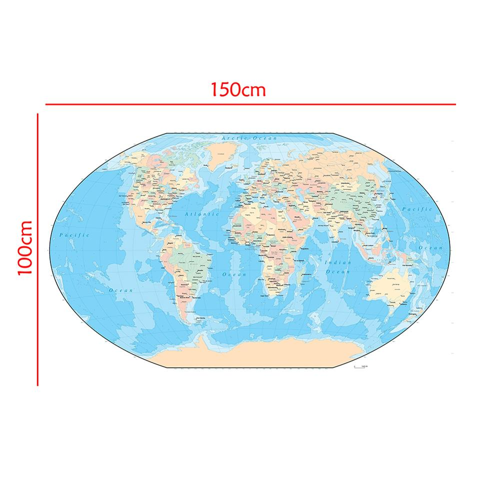 150x100cm World Map Non-woven Waterproof Map Without National Flag For Beginners