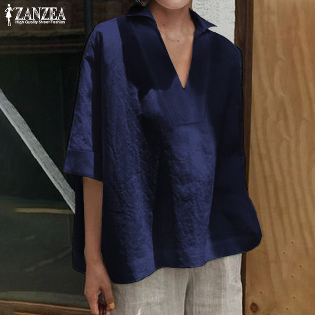 Women's Summer Blouse Tops 2019 ZANZEA Elegant 3/4 Sleeve Shirts Female Solid Blusa Kaftan V neck Casual Chemise Plus Size Tunic 4
