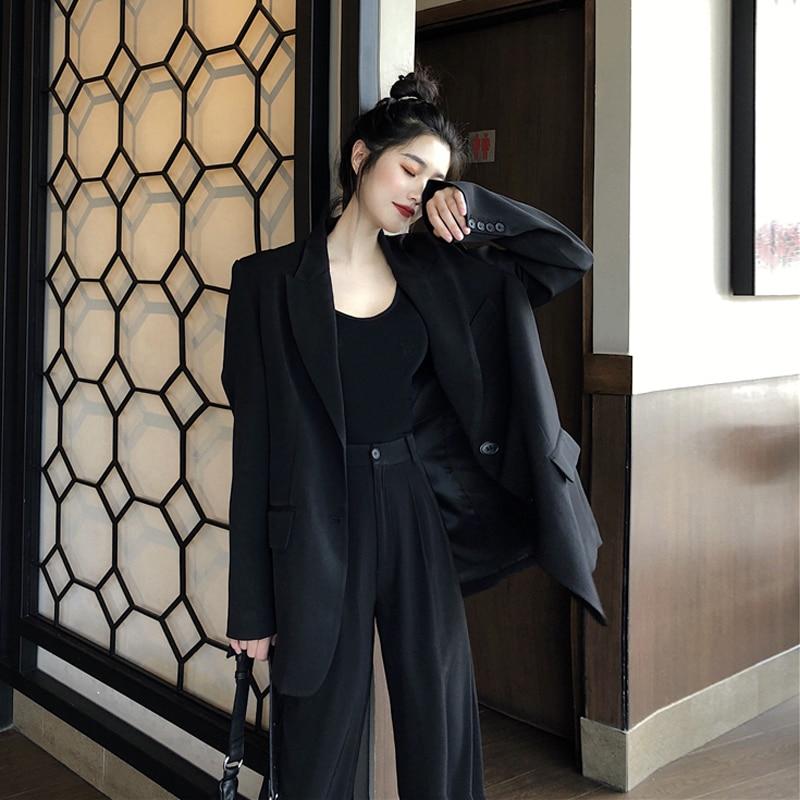 2020 Korean Women Suit Casual Pant Suits For Women Tailleur Femme Oversized Blazer Set Conbinaison Femme Ropa Formal Mujer