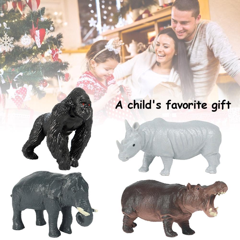 Juego de 4 Uds. De animales de la bestia salvaje, juguete de hipopótamo de elefante orangután de plástico para niños