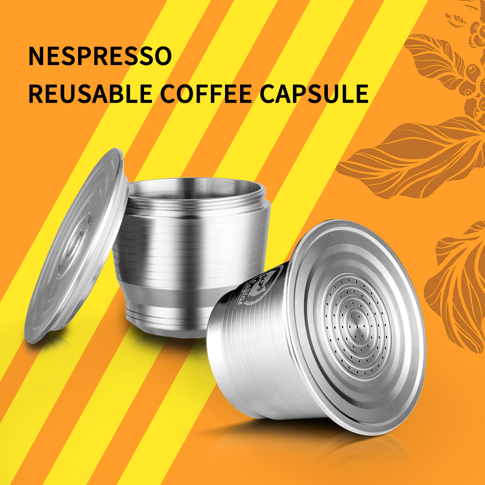 ICafilas Stainless Steel Coffee Capsule Filters For Nespresso Reusable Coffee Cup Spoon Refillable Brackets