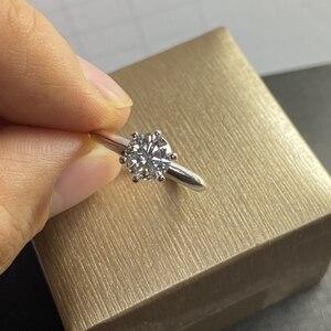 Классический дизайн VVS1 1cts лаборатория Moissanite бриллиантовое кольцо из стерлингового серебра 925 пробы с бриллиантами тест прошел модный подар...