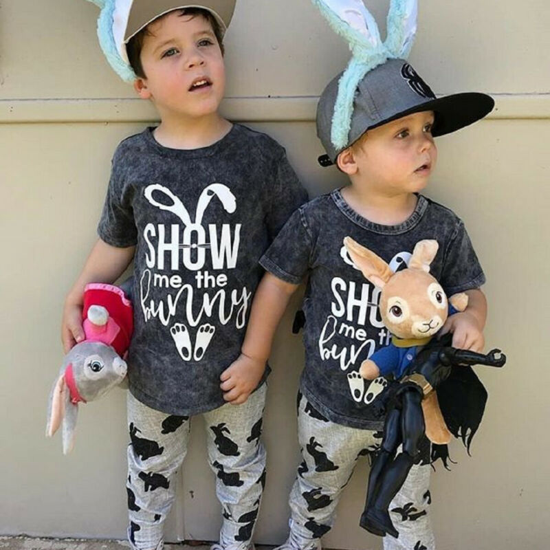 toddler baby boy two pieces Easter clothes set show bunny short sleeve tshirt pant kids boy clothing outfit