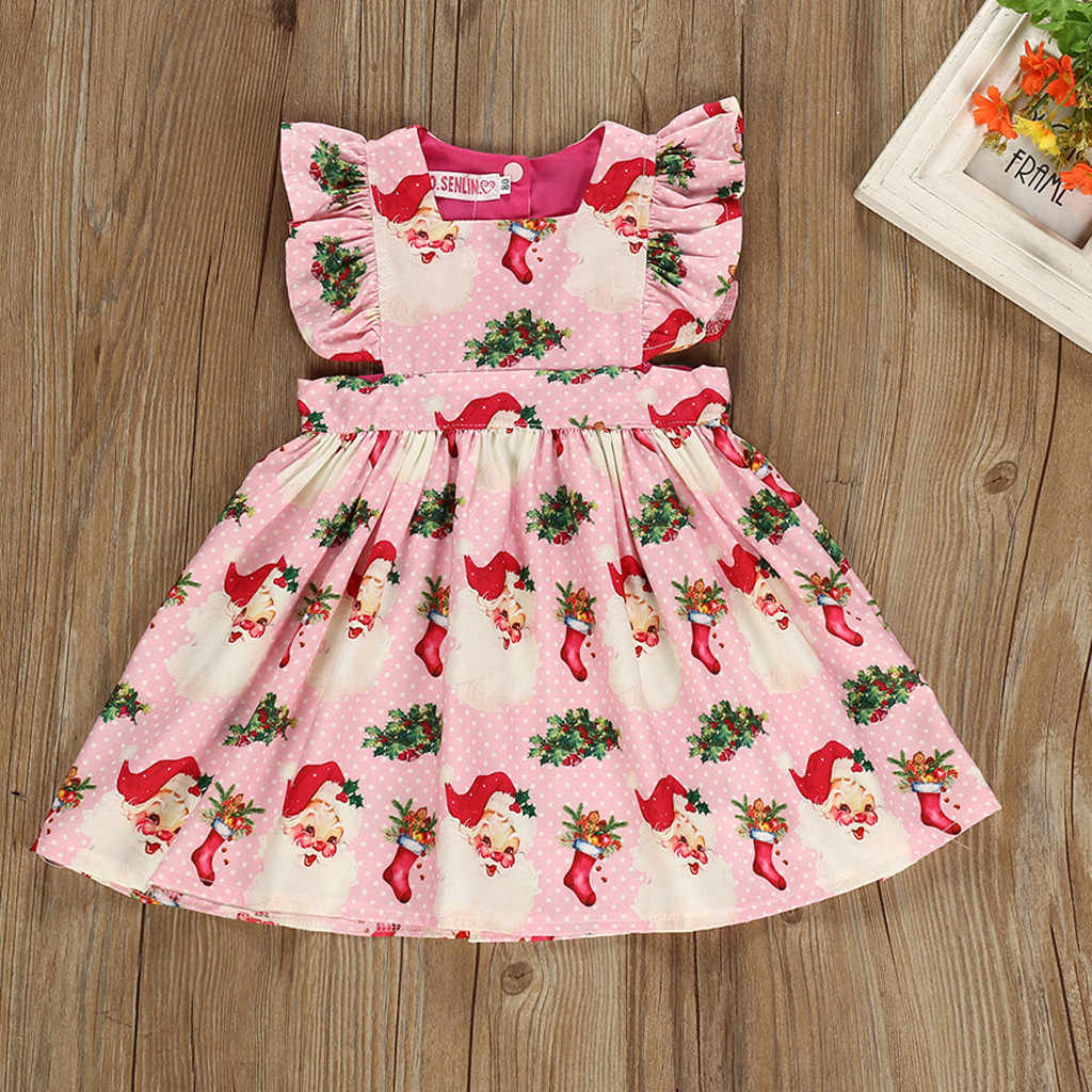 Kid Baby Girl Cartoon Print Sleeveless Princess Dress Christmas Xmas Girl Clothes Children Clothes Girls Outfits Toddler Clothes