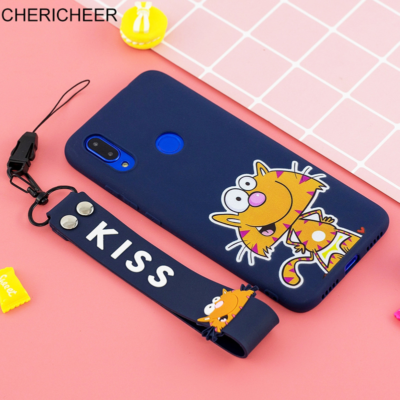 Portable Hand Strap Cartoon <font><b>Case</b></font> For <font><b>Honor</b></font> 7A 7C Pro <font><b>7S</b></font> 8S 8A 8C 8X 9X 10i 20i 20S 10 9 8 Lite i X S C A <font><b>Silicone</b></font> String Cover image