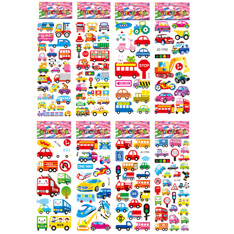 8 sheets/set Traffic Car Stickers  For Kids Boys 3D Puffy Bubble Scrapbook Cartoon Stickers Laptop Notebook DIY Toys 1