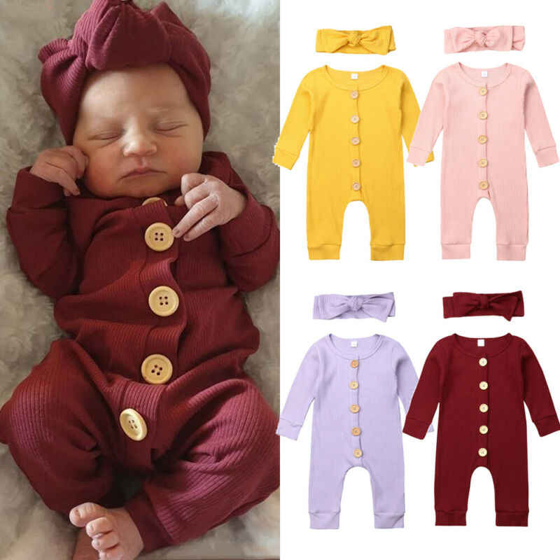 2PCS Knitted Solid Jumpsuit Newborn Baby Girl Boy Clothes Long Sleeve Autumn Romper Long Sleeve Headband Outfit Clothes