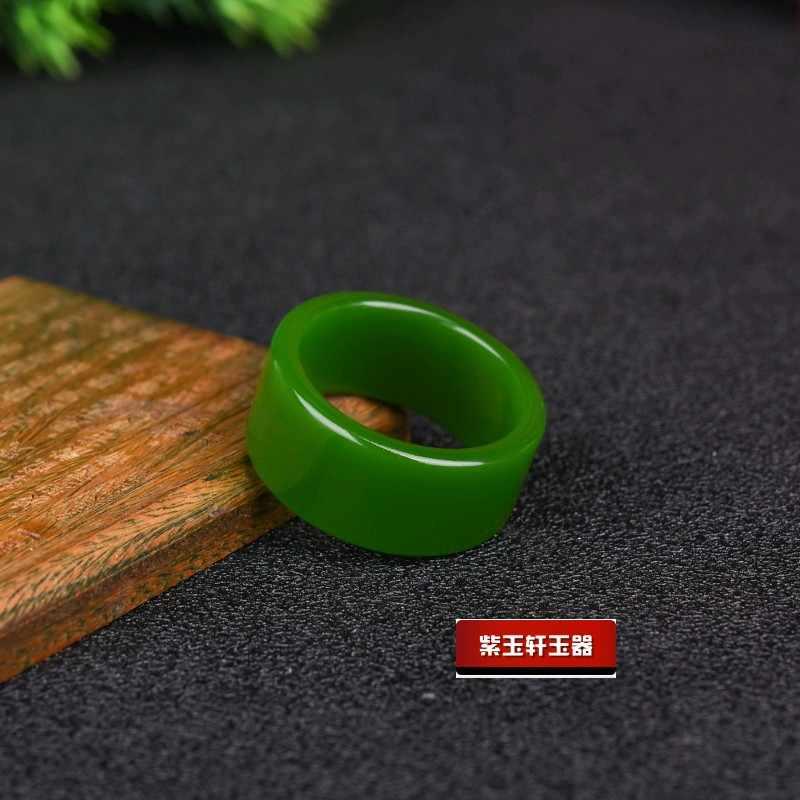 自然の緑和田ヒスイ 7-10 サイズリング中国硬玉お守りファッションチャームジュエリー手彫刻工芸品ギフト女性男性
