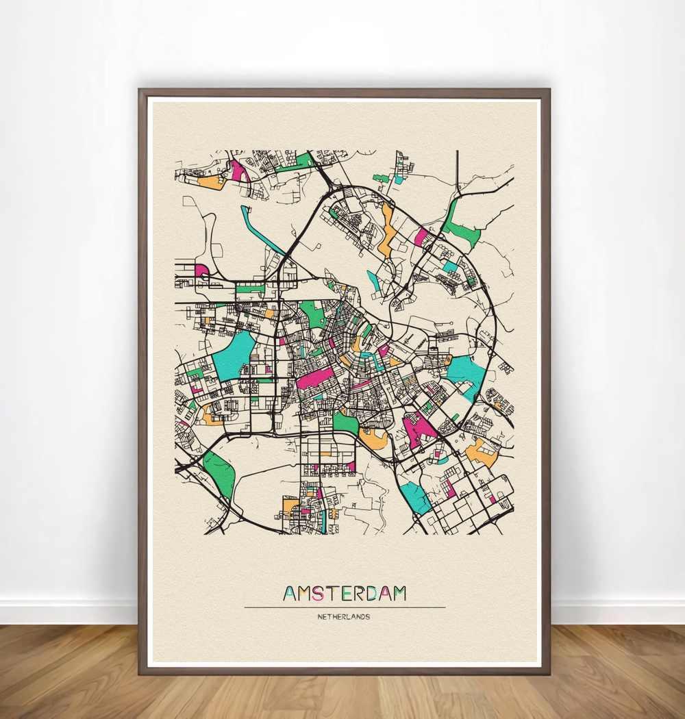 Анкоридж Андорра la Vella Анкара Анталья красочные карты города плакат холст печать