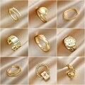 INS/Япония и Южная Корея простой Комбинации комплект кольца женские светильник класса люкс меньшинств изысканный нормкор Стиль кольцо для у...