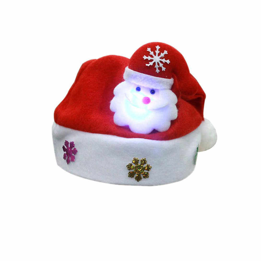 1pc led christmas hat Adult/Children LED Christmas Hat Santa Claus Reindeer Snowman christmas hat with led mini kerstmuts T3