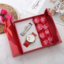 Ladies Watch Women Flower Roman Casual Leather Quartz Wrist Watches