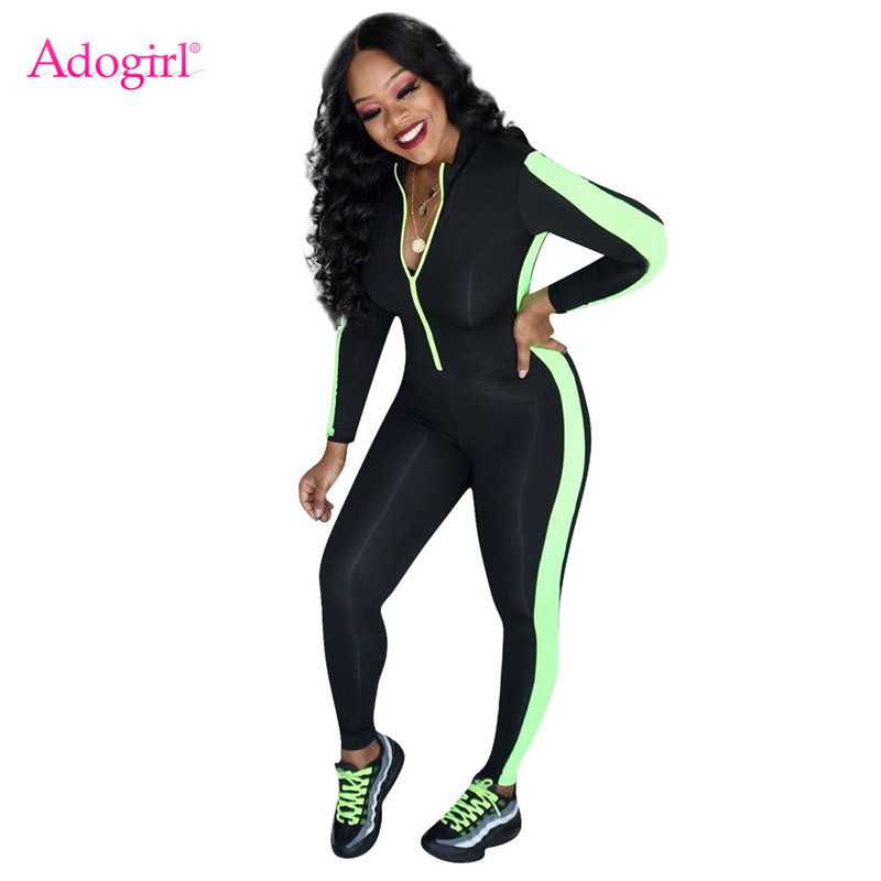 Adogirl Color Patchwork Bandage Jumpsuit Women Sexy Zipper V Neck Long Sleeve Casual Skinny Romper Tracksuit Fashion Overalls