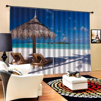 blue beach curtains Luxury Blackout 3D Window Curtains For Living Room Bedroom Customized size Decoration curtains
