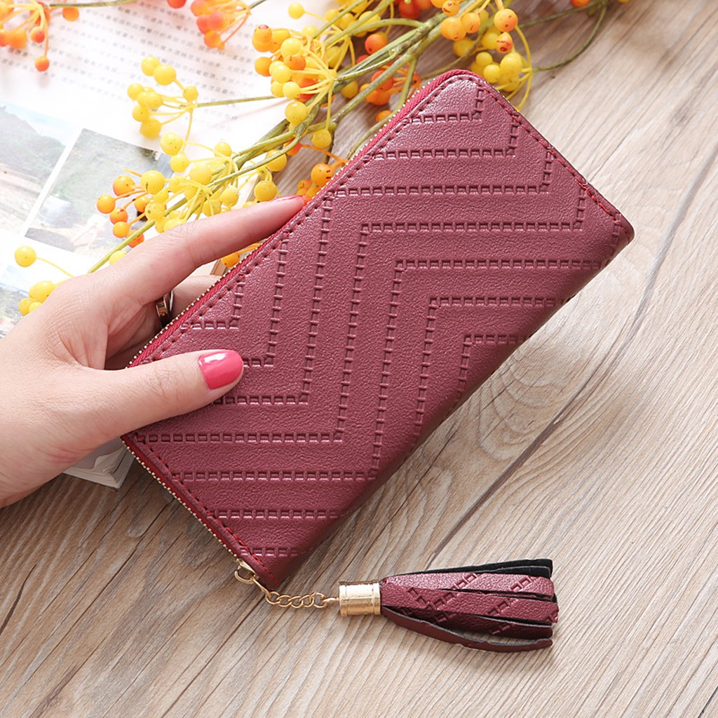 Women' S  Fashion  Trend Solid Color Long  Fringed  Leather Card Wallet Purse Cartera Mujer кошелек женский Carteira Portfel