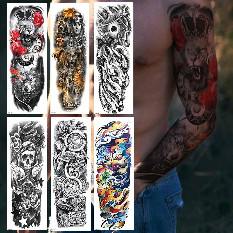 1Pcs Full Arm Temporary Tattoo Stickers, Waterproof Temporary Tattoo,Black Body Tattoo Stickers For Women,Men