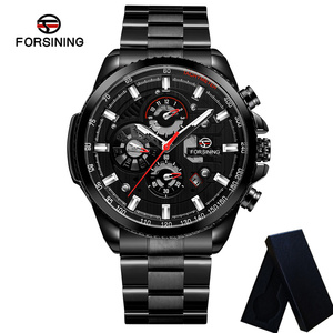 Image 4 - FORSINING Automatic Mechanical Men Wristwatch Military Sport Male Clock Top Brand Luxury Full Steel Waterproof Man Watch 6909