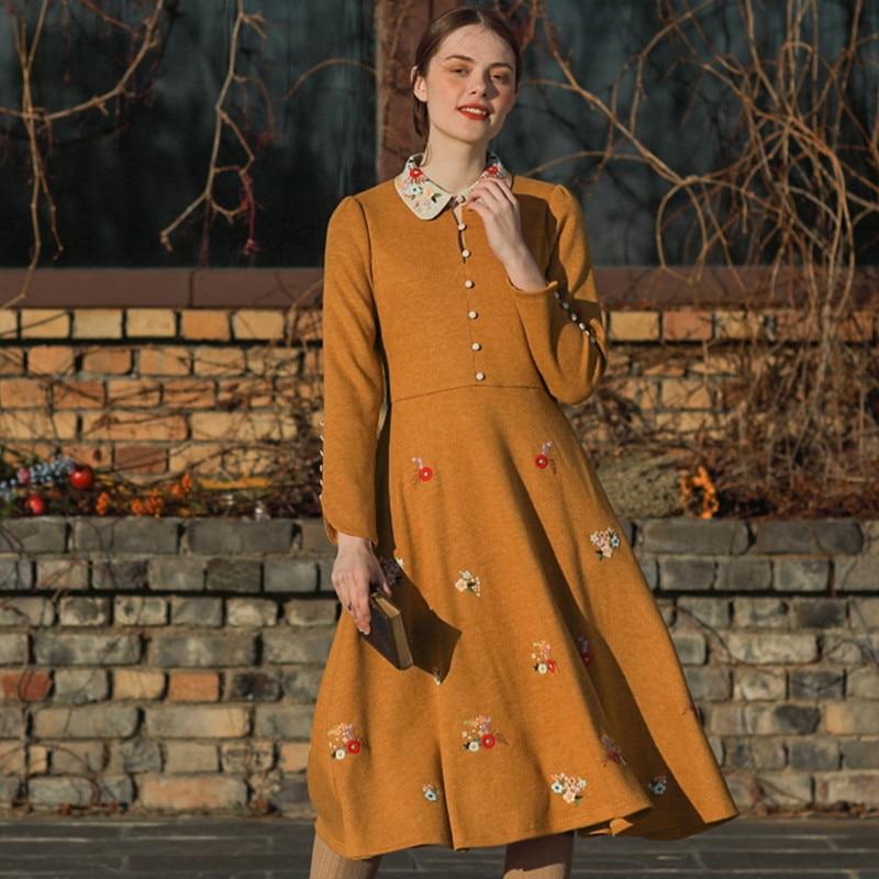 Originele Ontwerp Aigyptos Herfst Winter Nieuwe Vrouwen Vintage Elegante Slanke Mori Meisjes Franse Borduren Geel Lange Gebreide Jurken - 2