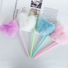 30pcs/set Love Hair Ball Gel Pen Cartoon Korea Stationeries Heart Shape Student Cute Novelty Wholesale