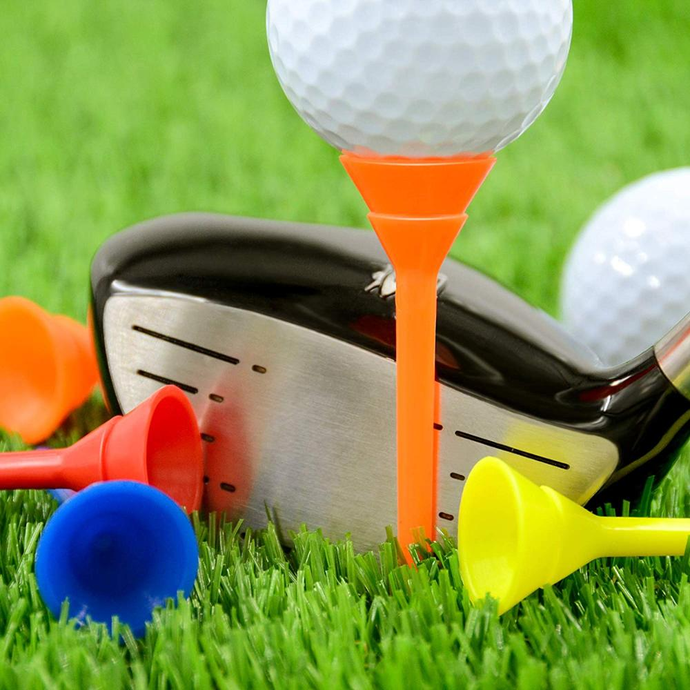 Long Golf Tees Plastic White Training Aid Tool Unbreakable Cup Tee 76mm Ball Holder Driving Range 30/50/60 Pcs Golf Accessories