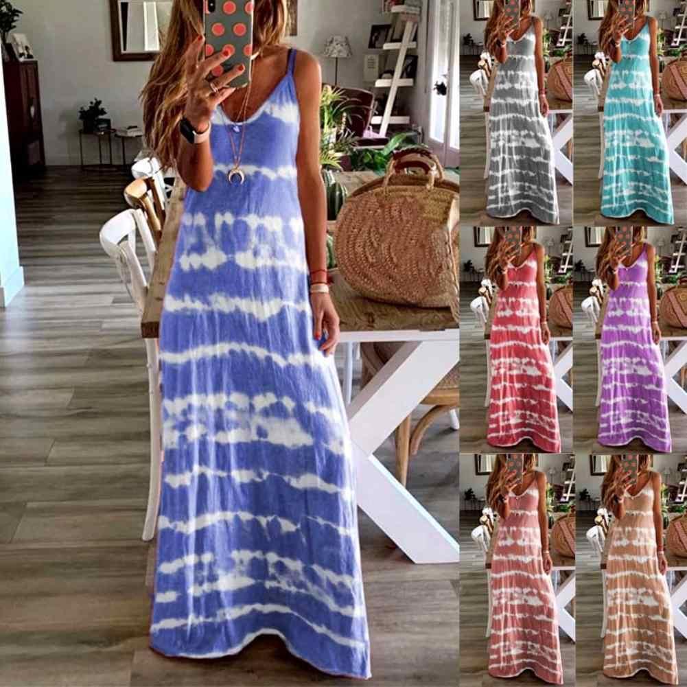 فستان النساء الشارع الشهير السيدات عادية فضفاض بلا أكمام الخامس رابطة عنق صبغ سترة طويلة شاطئ فستان بكتافة فساتين الصيف Vestidos النساء
