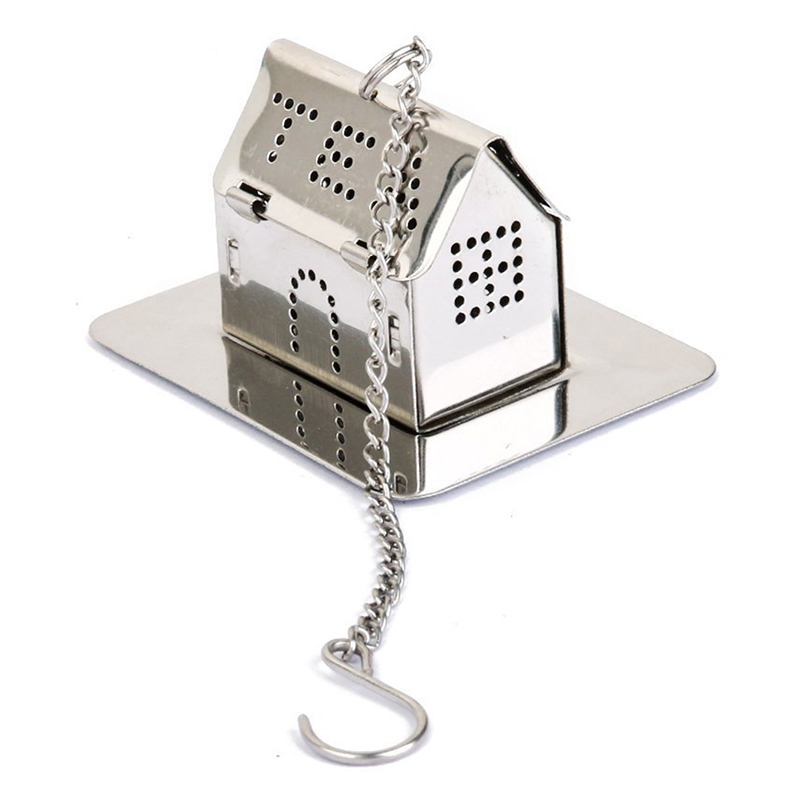 House Shape Stainless Steel Tea Infuser Strainer With Tray Silver