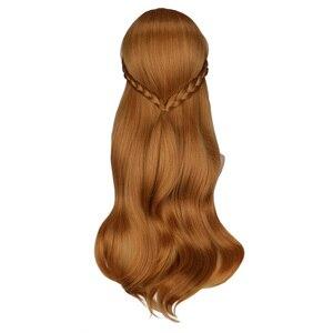 Image 3 - QQXCAIW kadınlar uzun kahverengi prenses örgü Cosplay peruk Anna parti kostüm kız yüksek sıcaklık Fiber sentetik saç peruk