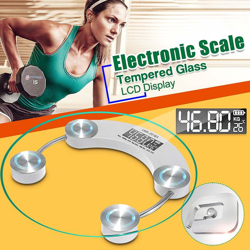 180KG Toughened Glass Electroni Digital Body Scales Bathroom Gym Smart Scales LCD Display Body Weighing Digital Weight Scale