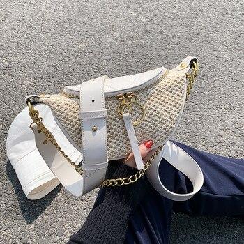 Straw Beach Bag Crossbody Bag For Women 2020 Summer Design Female Shoulder Messenger  Handbag Lady Chain Travel Chest Bag