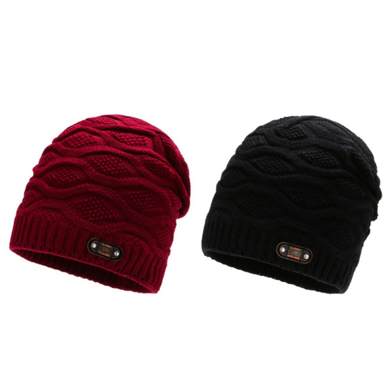 Autumn Winter Hat Men Women Knitted Skull Caps Beanies Fleece Lining Warm Comfortable Hat For Outdoor Ski Snowboard