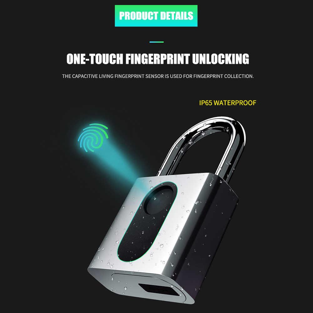 GS40F intelligent cadenas d'empreintes digitales USB Rechargeable IP65 étanche antivol sécurité cadenas fixation rétractable et mécanisme d'attache de sécurité sac à dos serrure sécurité