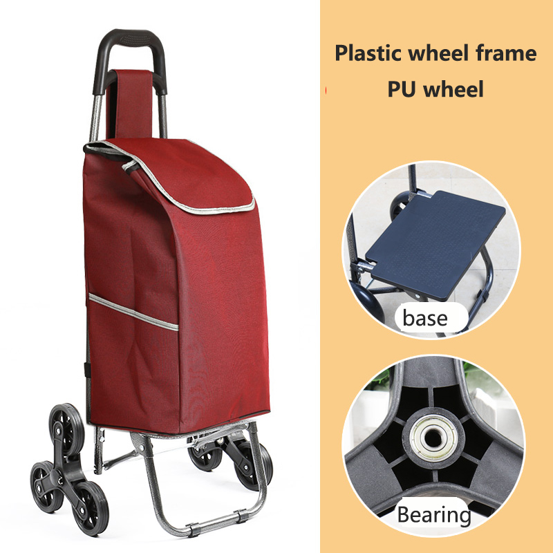 Поднимайтесь вверх, тележка для покупок, большие товары, товары, чехол на колесиках, складная тележка для прицепа, бытовая Портативная сумка для покупок, женская сумка - Цвет: PU wheel 2