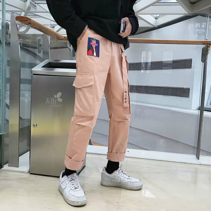 Pants Men Korean-style Fashion Loose-Fit INS Bib Overall Popular Brand Spring Students Harem Skinny Athletic Pants Harajuku-Styl