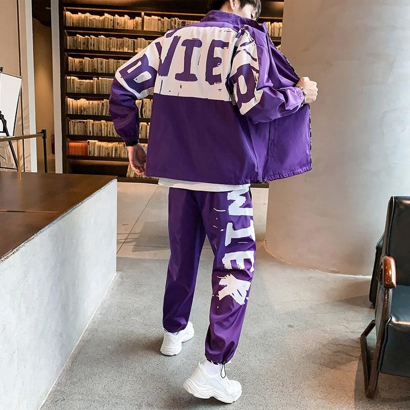 Men's Sports Suits Loose Printing Casual Jacket+Sports Pants 2PCS Autumn Suit Zipper Black Fashion Jogging Track Suit 5XL D7