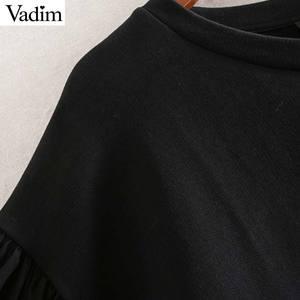 Image 4 - Vadim נשים שיק טלאי חולצות רפוי פאף שרוול O צוואר סוודרי להאריך ימים יותר אופנתי חולצות HA586