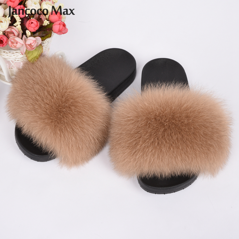 2020 New Arrivals Women's Real Fox Fur Slipper Summer Fashion Natural Fur Slides Lady Sandals Flip Flops S6018