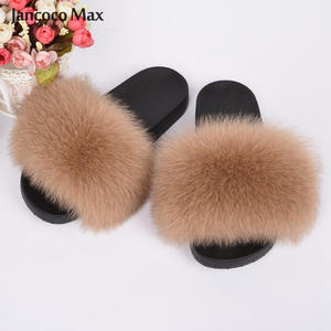 2020 New Arrivals Women's Real Fox Fur Slipper Summer Fashion Natural Fur Slides Lady Sandals Flip Flops S6018