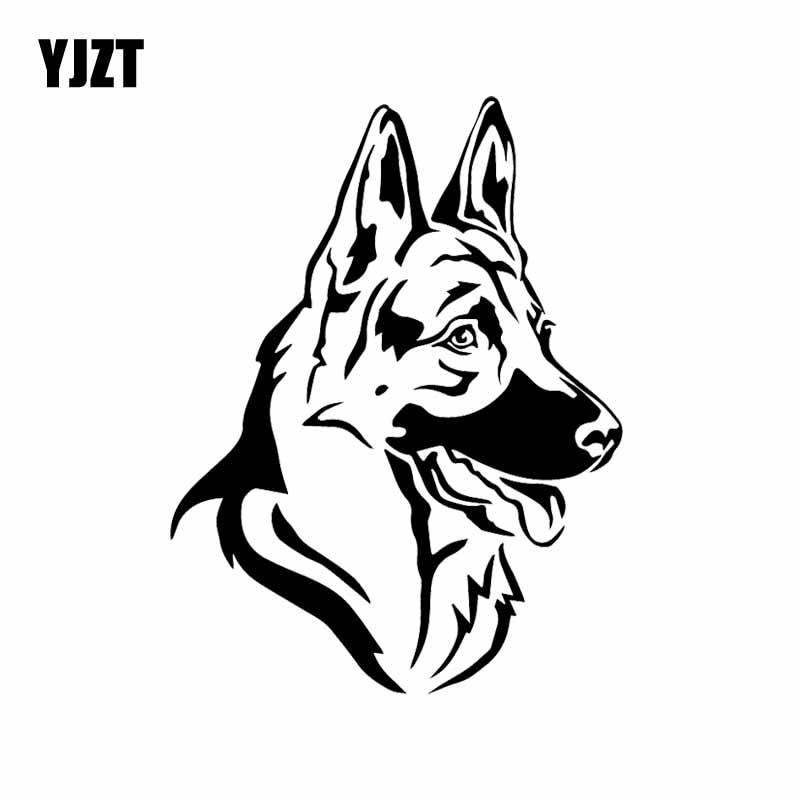 YJZT 12.3X16.2CM Cartoon Vinyl Decal German Shepherd Dog Pet Head Animal Car Stickers Decor Black/Silver C24-1332