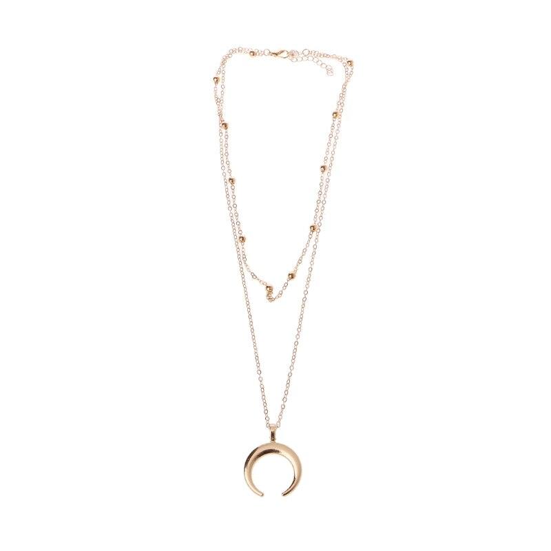 Moon Star Pendant Choker Necklace Gold Silver Long Chain Women/'s JewelryFDCA
