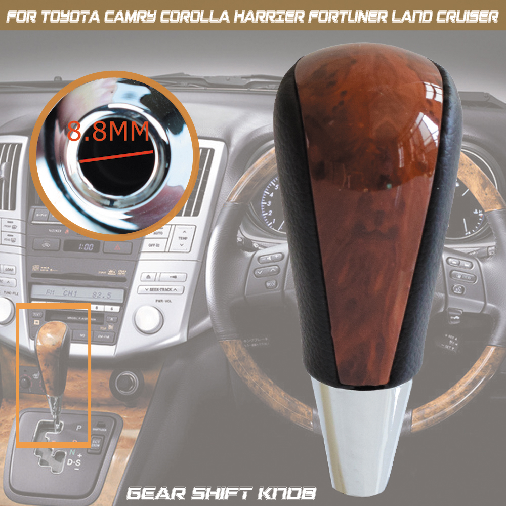 Auto Automatic Transmission Gear Shift Lever Knob For TOYOTA Corolla Camry HARRIER FORTUNER CROWN Land Cruiser Walnut Styling|Gear Shift Knob| |  - title=