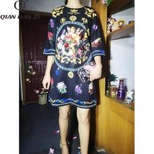 צ יאן האן זי 2019 מעצב אופנה סתיו שמלת נשים 3/4 בציר פרח הדפסת נצנצים חרוזים Loose שמלה
