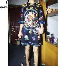 Qian Han Zi 2019 designer fashion autumn dress WomenS 3/4 Vintage Flower Print Sequined Beaded Loose Dress