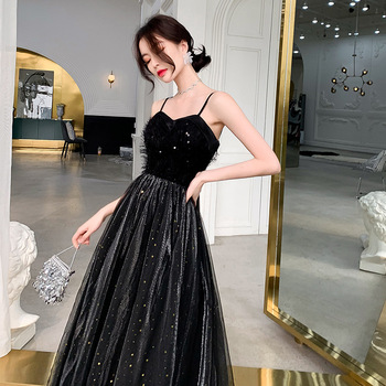 Banquet Evening Dresses 2019 New Stylih Sexy Spaghetti Strap a Line Prom Formal Dreses Floor Length Backless Crystal Party Dress