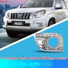 цена на 1Set For Toyota Prado FJ150 LC150 Land Cruiser 2700 2010 2011 2012 2013 Daylight LED DRL Daytime Running Lights Fog Lamp
