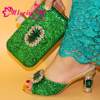 2020 green New Arrival Ladies Italian Shoes and Bag Set Decorated with Rhinestone Italian Shoes with Matching Bag for Women