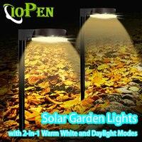 Luces solares de Camino para exteriores, lámpara Solar resistente al agua con modos de luz blanca cálida y diurna 2 en 1, para jardín y paisaje