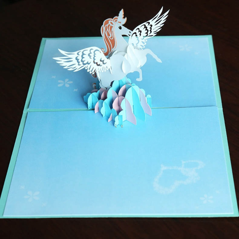 3D Unicorn Greeting Card Pop Up Greeting Holiday Cards Gifts For Xmas New Year Gift Greeting Cards Paper Craft